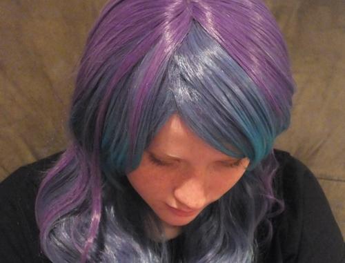 cosplay purple teal wig