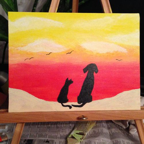 dog and cat painting