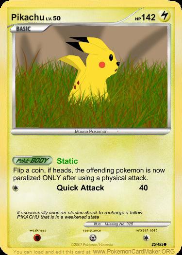 trading Pikachu card