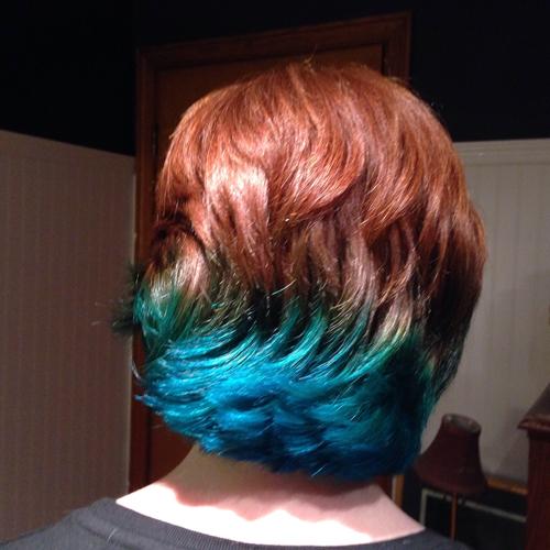 teal dye in red hair